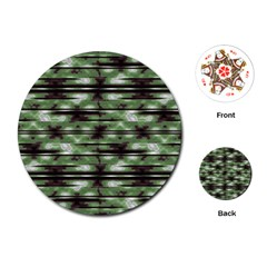 Stripes Camo Pattern Print Playing Cards (round)  by dflcprints
