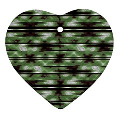 Stripes Camo Pattern Print Heart Ornament (two Sides) by dflcprints