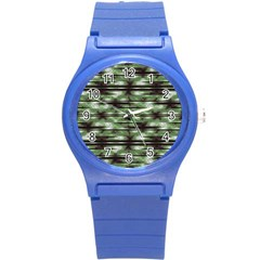 Stripes Camo Pattern Print Round Plastic Sport Watch (s) by dflcprints