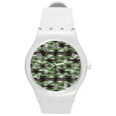 Stripes Camo Pattern Print Round Plastic Sport Watch (m) by dflcprints