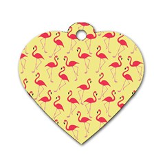 Flamingo Pattern Dog Tag Heart (one Side) by Valentinaart
