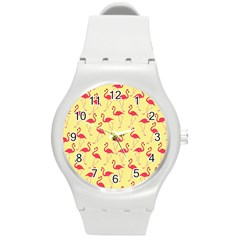 Flamingo Pattern Round Plastic Sport Watch (m) by Valentinaart