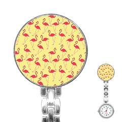 Flamingo Pattern Stainless Steel Nurses Watch by Valentinaart