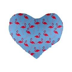 Flamingo Pattern Standard 16  Premium Flano Heart Shape Cushions by Valentinaart