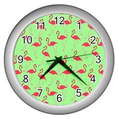 Flamingo Pattern Wall Clocks (silver)  by Valentinaart