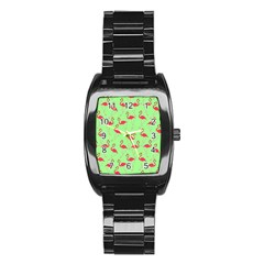 Flamingo Pattern Stainless Steel Barrel Watch by Valentinaart