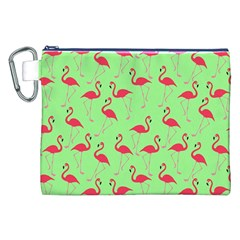 Flamingo Pattern Canvas Cosmetic Bag (xxl) by Valentinaart