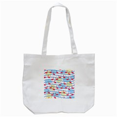 Flamingo Pattern Tote Bag (white) by Valentinaart