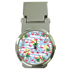 Flamingo Pattern Money Clip Watches by Valentinaart