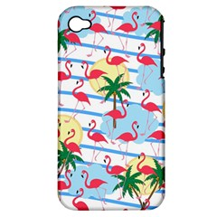 Flamingo Pattern Apple Iphone 4/4s Hardshell Case (pc+silicone)