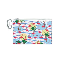 Flamingo Pattern Canvas Cosmetic Bag (s) by Valentinaart