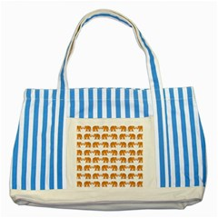 Indian Elephant  Striped Blue Tote Bag by Valentinaart
