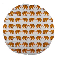 Indian Elephant  Large 18  Premium Flano Round Cushions by Valentinaart