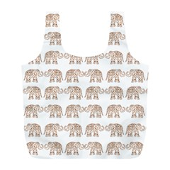Indian Elephant Full Print Recycle Bags (l)  by Valentinaart