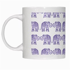 Indian Elephant Pattern White Mugs by Valentinaart