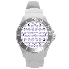 Indian Elephant Pattern Round Plastic Sport Watch (l) by Valentinaart