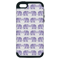 Indian Elephant Pattern Apple Iphone 5 Hardshell Case (pc+silicone) by Valentinaart