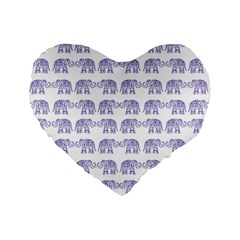 Indian Elephant Pattern Standard 16  Premium Flano Heart Shape Cushions by Valentinaart
