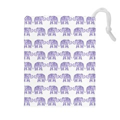 Indian Elephant Pattern Drawstring Pouches (extra Large) by Valentinaart