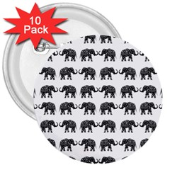 Indian Elephant Pattern 3  Buttons (10 Pack)  by Valentinaart