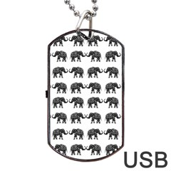 Indian Elephant Pattern Dog Tag Usb Flash (one Side) by Valentinaart