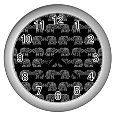 Indian Elephant Pattern Wall Clocks (silver)  by Valentinaart