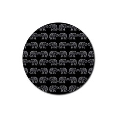 Indian Elephant Pattern Rubber Coaster (round)  by Valentinaart