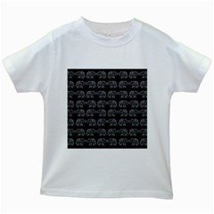Indian Elephant Pattern Kids White T Shirts by Valentinaart