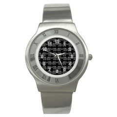Indian Elephant Pattern Stainless Steel Watch by Valentinaart