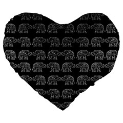 Indian Elephant Pattern Large 19  Premium Flano Heart Shape Cushions by Valentinaart