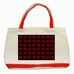 Indian Elephant Pattern Classic Tote Bag (red) by Valentinaart
