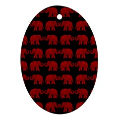 Indian Elephant Pattern Oval Ornament (two Sides) by Valentinaart
