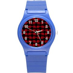Indian Elephant Pattern Round Plastic Sport Watch (s) by Valentinaart