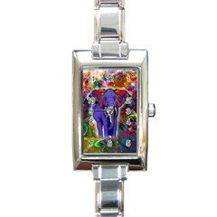 Abstract Elephant With Butterfly Ears Colorful Galaxy Rectangle Italian Charm Watch by EDDArt