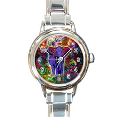 Abstract Elephant With Butterfly Ears Colorful Galaxy Round Italian Charm Watch by EDDArt