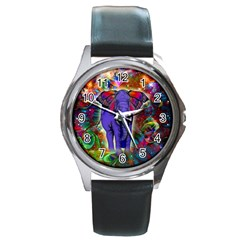 Abstract Elephant With Butterfly Ears Colorful Galaxy Round Metal Watch by EDDArt