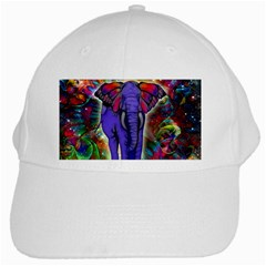 Abstract Elephant With Butterfly Ears Colorful Galaxy White Cap by EDDArt