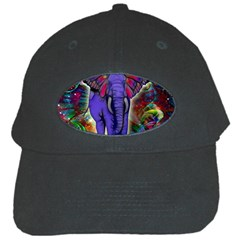 Abstract Elephant With Butterfly Ears Colorful Galaxy Black Cap by EDDArt