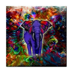 Abstract Elephant With Butterfly Ears Colorful Galaxy Tile Coasters by EDDArt