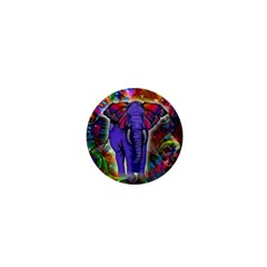 Abstract Elephant With Butterfly Ears Colorful Galaxy 1  Mini Buttons by EDDArt