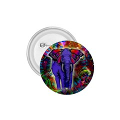 Abstract Elephant With Butterfly Ears Colorful Galaxy 1 75  Buttons by EDDArt