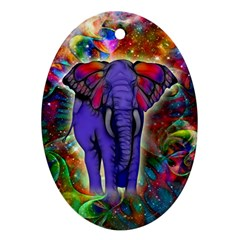 Abstract Elephant With Butterfly Ears Colorful Galaxy Ornament (oval) by EDDArt