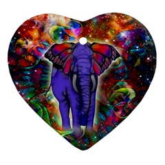 Abstract Elephant With Butterfly Ears Colorful Galaxy Ornament (heart) by EDDArt