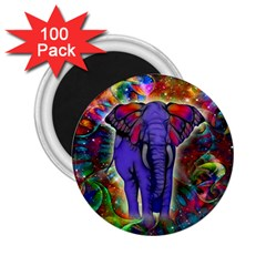 Abstract Elephant With Butterfly Ears Colorful Galaxy 2 25  Magnets (100 Pack)  by EDDArt