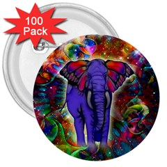 Abstract Elephant With Butterfly Ears Colorful Galaxy 3  Buttons (100 Pack)  by EDDArt