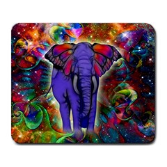 Abstract Elephant With Butterfly Ears Colorful Galaxy Large Mousepads by EDDArt