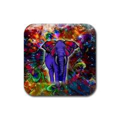 Abstract Elephant With Butterfly Ears Colorful Galaxy Rubber Coaster (square)  by EDDArt