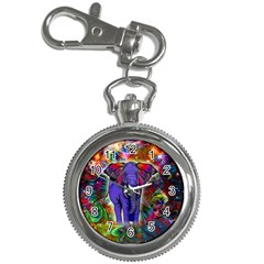 Abstract Elephant With Butterfly Ears Colorful Galaxy Key Chain Watches by EDDArt