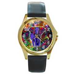 Abstract Elephant With Butterfly Ears Colorful Galaxy Round Gold Metal Watch by EDDArt