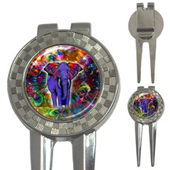 Abstract Elephant With Butterfly Ears Colorful Galaxy 3 In 1 Golf Divots by EDDArt